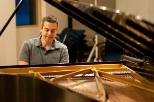 "Jason Hardink in the recording studio for ""And the Waves Sing Because Th"