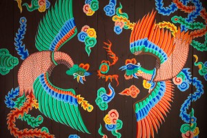 A pair of phoenixes on the ceiling of Hyehwamun