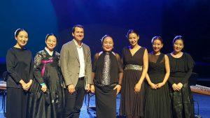 "With the performers at the premiere of ""Autumn Winds"" in Uijeongbu, Korea"